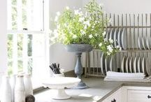 Rooms: Kitchens / White dishes, gray cabinets, lots of natural light and a great big farmhouse table make my heart sing.