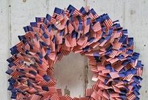 Wreaths: Red White & Blue / Display your love for the USA in gorgeous red, white & blue wreaths for your home. Perfect for Memorial Day, Fourth of July, etc.
