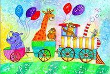 Tiere Zeichnungen gemalt Kinderzimmer-Bilder painting for kids