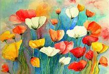 Blumen  Bunter Mohn Mohn-Blumen poppies painting