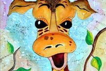 Giraffe Giraffen painting gemalt Malerei für Kinder / Giraffen gemalte gezeichnet Aquarelle u. Acryl for children