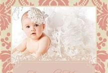 Baptism / Baptism invitations, party invites, birthday party invitations, damask, pink, cute.