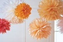 our day: garland, lights, poms