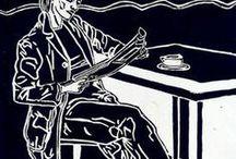 GRABADOS  Carmen LUNA. / En las xilografias, el resultado final en el papel, se ha realizado a mano, con una antigua cuchara de sopa de bronce, centimetro a centímetro hasta que a la artista se le dislocó el hombro.  Nunca ha utilizado ningún medio mecánico para la impresión de cada grabado. Tiene mucho de arte antiguo y algo de artesanal.  A ésta  experiencia le ha sumado los grabados pintados con acrílicos.  Ha convertido a  cada uno en único.