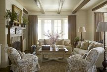 family room / Beautiful neutral family room design & decor ideas blending old & new / by Julie Blanner