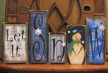 Upcycled Mafia - Craft 1 - Wood Blocks Inspiration / Holiday Craft Shindig - Nov 15th   A place for wooden block inspiration