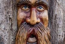 Wood Spirits / A collection of wood carved wood spirits