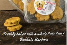"Bubba's Barkree / Handmade dog treats and gluten free snacks - only from Bubba's Barkree at Stew Leonard's!    Bubba's Barkree line uses 100% natural ""human"" food proven to be beneficial to dogs, such as sweet potatoes, eggs, pumpkin puree, and brown rice.  All made by hand with simple ingredients and a whole lotta love!"