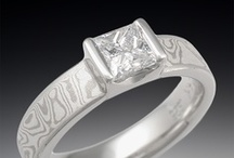 Mokume Solitaire Engagement Rings / by Krikawa Jewelry Designs