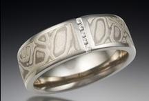 Diamond Accented Mokume Bands / by Krikawa Jewelry Designs
