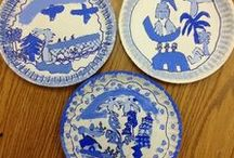 Willow Pattern ♥ Inspired ♥ / I found a fabulous book in my school's library which was inspired by the story of the willow pattern. I like this as a lesson to teach culture and monochromatic color schemes.