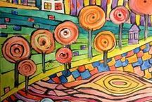 ♛♛♛ Hundertwasser / WOW! Love this artist -- very organic shapes and fun to draw with an art class.