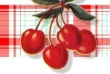 Cherries / I remember when i was little, My Grandmother had a Canning Kitchen in the Garage. it was so cute. she had Cherries Curtain on the window, i remember the Red and white Kitchen being a happy place to work. Preparing for winter. / by Connie Jean Klein