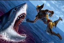 Superheroes Fighting Sharks