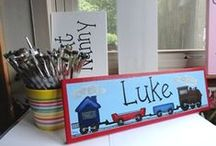 Name Signs for Kids / Personalized name signs for kids make fun room decor! Our kids' room signs are custom  painted in your choice of names, wording, colors and themes. Decorative hand painted signs are just right for a kid of any age!  / by Creative Name Signs