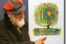 Friendensreich Hundertwasser / inspiratie bord bij het thema: architectuur/de Oostenrijkse architect Friedensreich Hundertwasser (1928-2000). Hij stond vooral bekend om de door hem ontworpen, kleurrijke gebouwen en was voorvechter van een mens- en milieuvriendelijke bouwwijze.