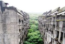 Abandoned Spaces / man-made structures being retaken by natures