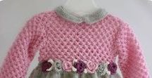 babies dresses (crochetted, knitted, sewn)