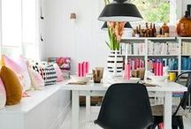 Inspiration | Living Spaces / Bright and colourful living rooms filled with beautiful bohemian decor, art filled walls, colour inspiration. Ideas for layout and decoration of lounge, dining room and other living areas.  Featuring bright walls in colourful shades, trestle tables, vintage furniture, hanging plants, cacti, print walls and paint.