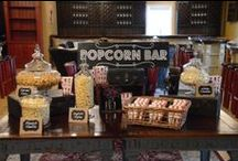 Popcorn Bar Inspiration / Parties aren't just for popping corks... they're for popping popcorn, and designing a #popcorn bar full of flavors, favors, textures and fun!