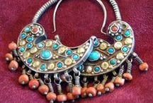 Ethnic/Tribal Earrings And Body Jewelry / Semi Precious Stones, Silver, Gold & Some Antique Styling.  / by Lula