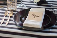 Table Settings / Table decoration, place settings, party table ideas, dishes, china and cutlery.