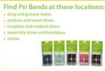 Where to Buy Psi Bands / Psi Bands are stylish acupressure wrist bands for the relief of nausea due to morning sickness, motion sickness, anesthesia and chemotherapy. Clinical studies support the use of wrist acupressure to relieve nausea -- drug-free!