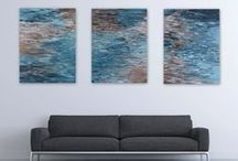 Triptych Commission: Overcast Ocean / Color and mood inspiration for a 2015 original abstract painting commission.