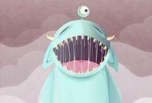 monsta love / #characters #monster #3d #illustration