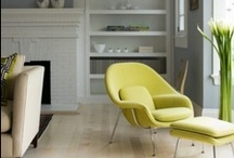 Eero Saarinen's Womb Chair / This chair with the unusual design was first produced in 1948. Unlike many other chairs of this era, the Womb Chair has a very informal and laconic look that simply exudes relaxation and comfort. The slender legs of the chair and footstool are made from top quality English steel, giving this relaxing chair a light and elegant touch.