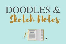 Doodles and sketch notes / Ideas and inspiration on how to draw easy, simple, cute designs and doodles. Sketch notes and kawaii too!