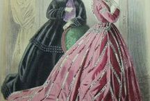 19th: Victorian 1866-69 / Fashions from the transition from hoop to bustle (c1865-1869)