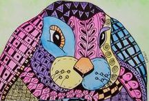 Animal etc. Zentangles, Doodles & Other Art (Colored) / A Rainbow of Artwork / by Sherry Rymer