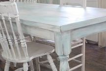 Going wild with paint! / There's loads of good, sturdy furnishings in every consignment, resale and thrift store. So what if it's purple and you're more the ecru type... or vice versa? Some ideas on how you can make new-to-you furnishings really YOURS.