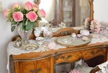 Vanity Fair / Few things are more feminine and ladylike than a beautiful dressing table or vanity adorned with jeweled picture frames, floral bouquets, vintage perfume bottles, crystal jars and dishes and more... / by Stephanie Miceli
