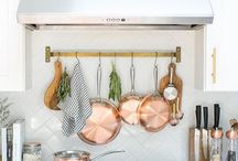 Kitchen / Kitchen decor, white kitchens, copper kitchen accents, open shelving, range, farmhouse kitchen, farmhouse sink.