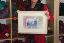 Mita Higton's art at The Sheep Shop / Mita is itching to paint more sheep-themed art, so to make room for new paintings, prices are slashed!  See pictures for new prices.