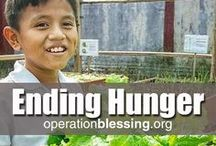 Ending Hunger / Hunger is a real problem worldwide, as it can lead to sickness, malnutrition and death. In the U.S., humanitarian organization Operation Blessing's Hunger Strike Force delivers truckloads of food every week. Internationally, we provide hunger relief through nutritional feeding programs in schools, irrigation systems, agricultural projects and community farming projects that offer sustainable, eco-friendly solutions to help end hunger and poverty. http://operationblessing.org/hunger-relief/