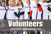 Volunteers / Would you like to volunteer with Operation Blessing? When hurricanes, tornadoes, snow storms, earthquakes and other natural disasters strike, volunteers are needed for our disaster relief efforts. Or you could get involved with our Impact program for teams of volunteers, reaching out to U.S. cities and helping those in need through feeding the hungry and community service projects. We're working together to bring humanitarian aid and make a difference. http://operationblessing.org/volunteer/