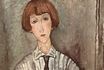 Art - Modigliani / Amedeo Clemente Modigliani was an Italian painter and sculptor who worked mainly in France. Primarily a figurative artist, he became known for paintings and sculptures in a modern style characterized by mask-like faces and elongation of form.  Born: July 12, 1884, Livorno Died: January 24, 1920, Paris.  Wikipedia / by Lily Fisher
