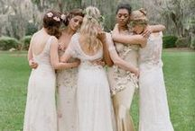 Bridal Bling / **Bridal party, with sparkle**  Blingy bridal wear  Weddings with sparkle Embellished gowns Nude, blush, champagne & gold embellished bridesmaid dresses