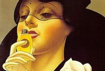 The Art of Perfume / Art and Perfume - always a winning combination. Especially so when the medium is vintage perfume advertising, perfume ephemera, perfume posters, and perfume bottle labels.