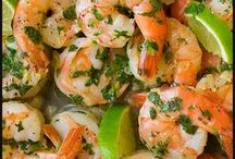 Seafood Dinner & Lunches / Collection of seafood dishes - crab, clams. shrimp salmon  Fish and all things caught in the sea.