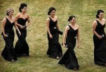 Wedding - Bridesmaids. / #wedding #bridesmaids #dresses #black #floorlength #lace