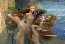 Merfolk, Water Nymphs & Sirens / Merfolk are aquatic creatures with the upper body of a woman or man & the tail of a fish. ~ Water Nymphs (Naids; Oceanids; Nereids; Undine) are fairies that inhabit water. ~ Sirens are sea nymphs, part woman & part bird, who lure mariners to destruction by their seductive singing.