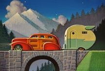 Robert LaDuke / Robert LaDuke's  (b.1961) narrative paintings are a combination of memories, dreams and everyday life. Some of his most vivid memories are of traveling cross country in the family Cadillac with an Airstream trailing behind. Combined with these memories is a fascination with 1940's era transportation.Because of an inheritance of antique steel toys, steel toys often appear as subject matter in many of LaDuke's paintings.