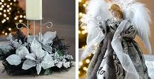 Black & Silver Theme 2017 / Explore the classy contrast this festive season with our modern collection of black and silver Christmas trees and decorations. This range includes co-ordinating table decorations, a wreath and garland and sleek silver tree decorations.