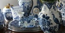 Blue & white glass / Collections of blue and white ceramic glass vases plates and candlesticks. Swoonworthy!