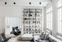 Living Room: Lounge Time / Living and guest room design, layout, materials, patterns, and furniture - with a modern, mid-century, Scandinavian, or minimal design.