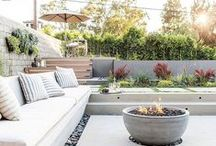 Backyard: View from the back porch / Backyard, deck, and patio design, layout, materials, patterns, and furniture - with a modern, mid-century, Scandinavian, or minimal design.